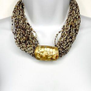 Jewelry - Seed Bead Boho Multi Strand Abalone Chip Pendant